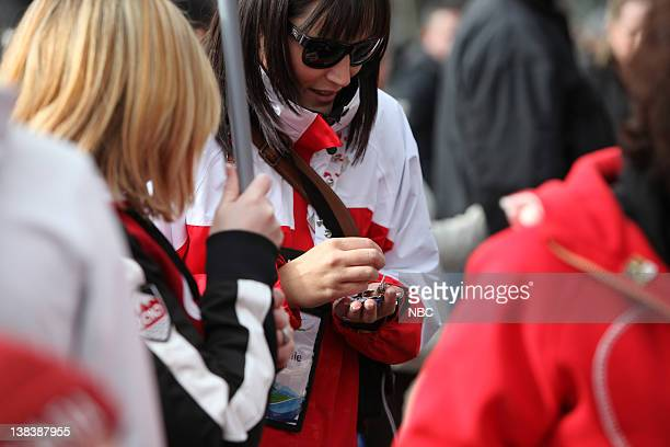 Robson Square -- Pictured: Fans trade their Olympic Pins at Robson Square