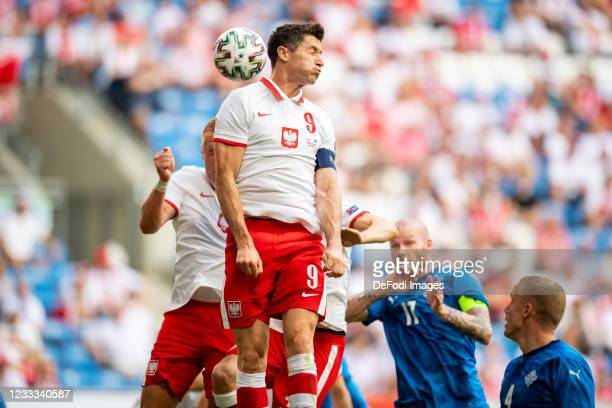 Robtert Lewandowski of Poland battle for the ball during the international friendly match between Poland and Iceland at Stadion Miejski on June 8,...