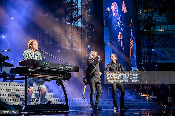 Roby Facchinetti Riccardo Fogli and Dodi Battaglia of Italian pop band Pooh perform a sold out show at San Siro Stadium on June 10 2016 in Milan Italy
