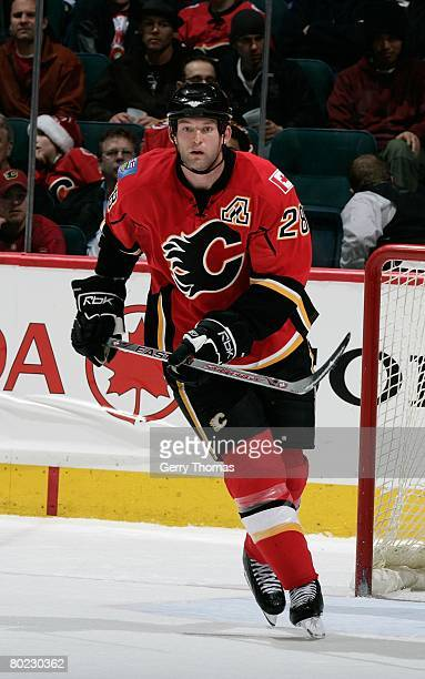 Robybn Regehr of the Calgary Flames skates against the St. Louis Blues on March 10, 2008 at Pengrowth Saddledome in Calgary, Alberta, Canada. The...