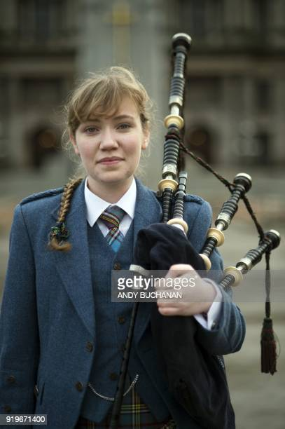 Robyn Ada McKay a bagpiper studying at The Royal Conservatoire of Scotland poses on January 22 2018 in Glasgow On Brexit she says 'If I want to study...