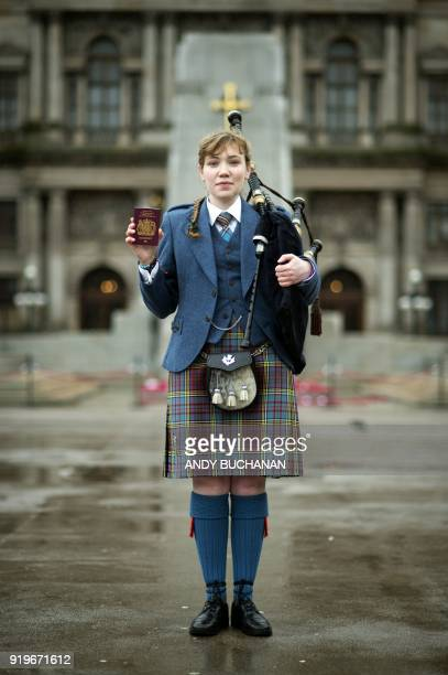 Robyn Ada McKay a bagpiper studying at The Royal Conservatoire of Scotland poses with her British passport on January 22 2018 in Glasgow On Brexit...