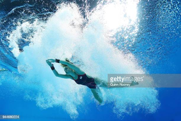 Robyn Birch and Lois Toulson of England compete in the Women's Synchronised 10m Platform Diving Final on day seven of the Gold Coast 2018...