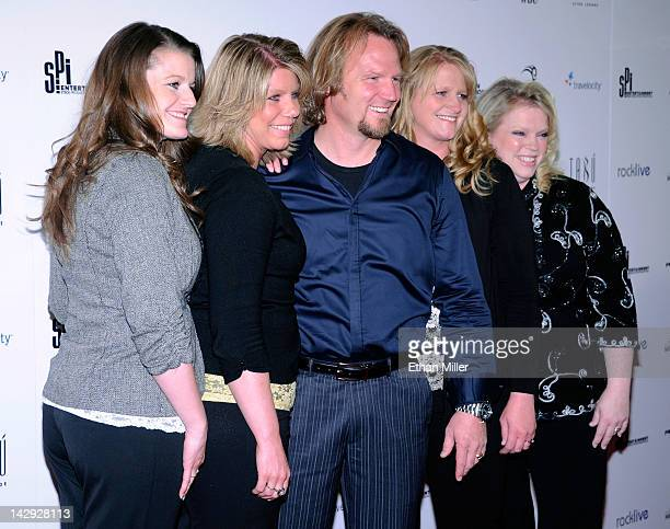 Robyn Brown Meri Brown Kody Brown Christine Brown and Janelle Brown from 'Sister Wives' arrive at the grand opening of Mike Tyson's oneman show 'Mike...