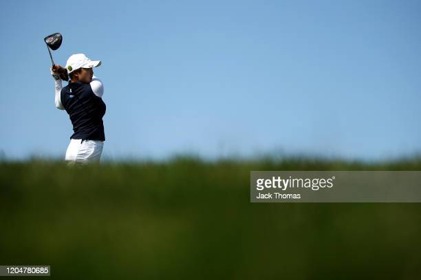 Robyn Choi of Australia tees off on the 10th Creek Course hole during Day Two of the ISPS Handa Vic Open at 13th Beach Golf Club on February 07, 2020...