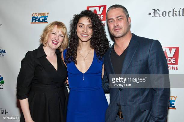 Robyn Coffin Miranda Rae Mayo and Taylor Kinney attend TV Guide Celebrates Cover Stars Taylor Kinney Jesse Spencer at RockIt Ranch on April 10 2017...