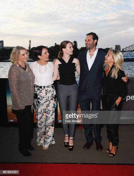 Robyn Davidson Jessica Tovey Mia Wasikowska Emile Sherman and Carolyn Sherman pose at the St George Openair Cinema Tracks premiere on January 10 2014...