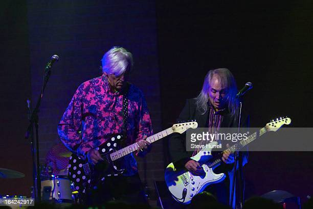 Robyn Hitchcock and Kimberley Rew perform on stage at A 60th Birthday Tribute To Robyn Hitchcock at Village Underground London 28th February 2013