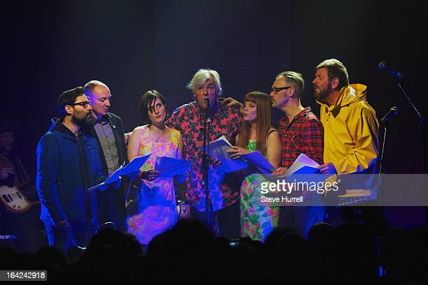 Robyn Hitchcock performs with guests at A 60th Birthday Tribute To Robyn Hitchcock at Village Underground London 28th February 2013 LR Adam Buxton...