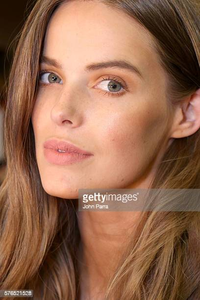 Robyn Lawley poses at PerFekt Beauty Backstage at Hammock SwimMiami 2016 at W South Beach on July 15 2016 in Miami Beach Florida