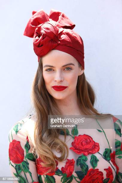 Robyn Lawley poses at the Kennedy Marquee on Kennedy Oaks Day at Flemington Racecourse on November 9 2017 in Melbourne Australia