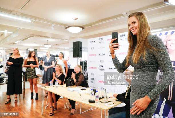 Robyn Lawley takes a photos of finalists during Cosmo Curve casting on March 17 2018 in Sydney Australia