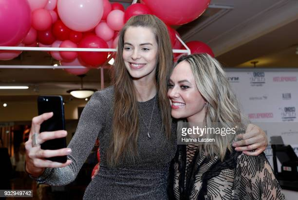 Robyn Lawley takes a selfie with Keshnee Kemp at the Cosmo Curve casting on March 17 2018 in Sydney Australia