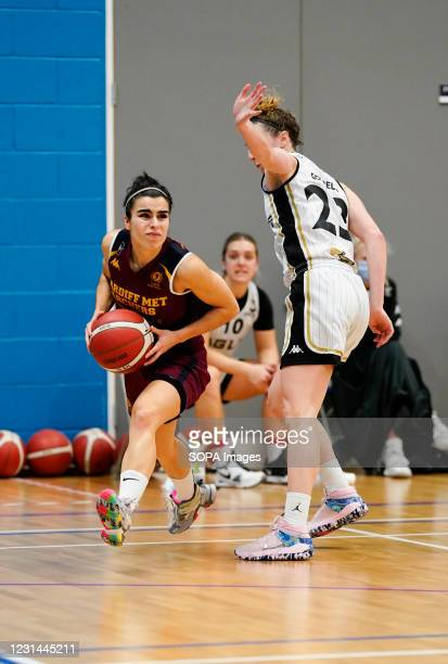 Robyn Lewis and Alison Gorrell are seen in action during the Women's British Basketball League match between WBBL Cardiff Archers and Newcastle...