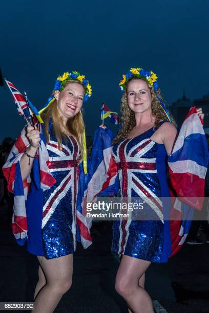 Robyn McDade from Dunfermline Scotland and Maria Beattie from Dumbarton Scotland pose for a portrait at the Eurovision Grand Final on May 13 2017 in...