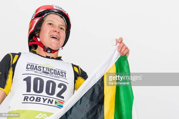 Robyn Owen of South Africa celebrates winning the 1 day individual competition during the Kathmandu Coast to Coast on February 10 2018 in...