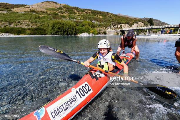 Robyn Owen of South Africa competes in the kayak stage of the 1 day individual competition during the Kathmandu Coast to Coast on February 10 2018 in...