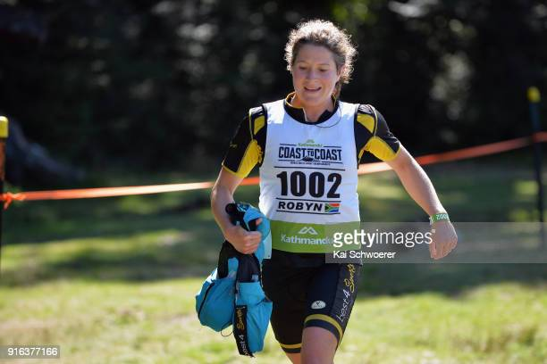 Robyn Owen of South Africa competes in the mountain running stage of the 1 day individual competition during the Kathmandu Coast to Coast on February...