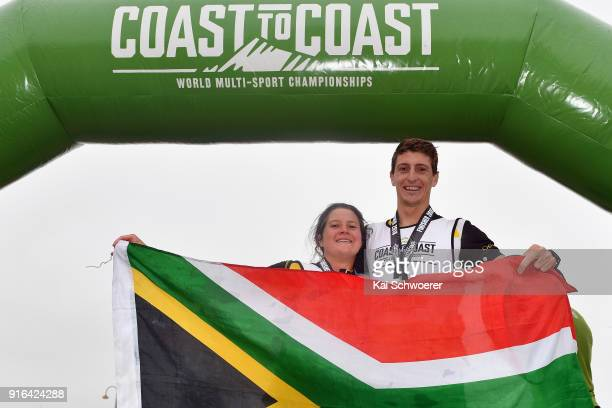 Robyn Owen of South Africa poses with her brother Lance Kime of South Africa after winning the 1 day individual competition during the Kathmandu...