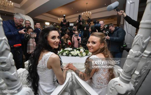 Robyn Peoples and Sharni Edwards face the media after they became Northern Ireland's first legally married same sex couple on February 11 2020 in...