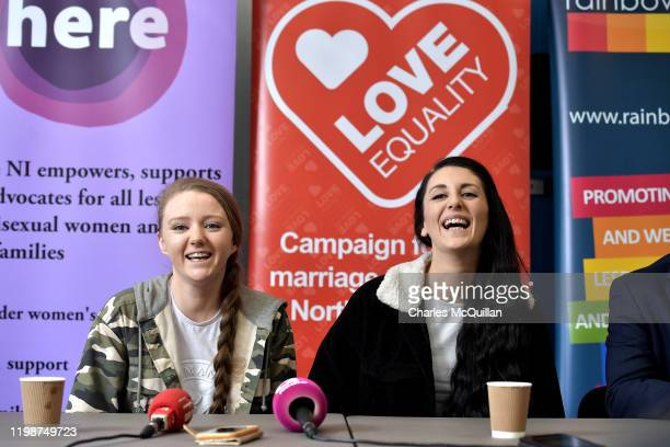 Robyn Peoples and Sharni Edwards Northern Ireland's first samesex couple to be legally married laugh during a prewedding press conference on February...