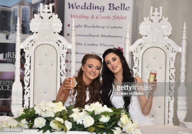 Robyn Peoples and Sharni Edwards pose after they became Northern Ireland's first legally married same sex couple on February 11 2020 in Carrickfergus...