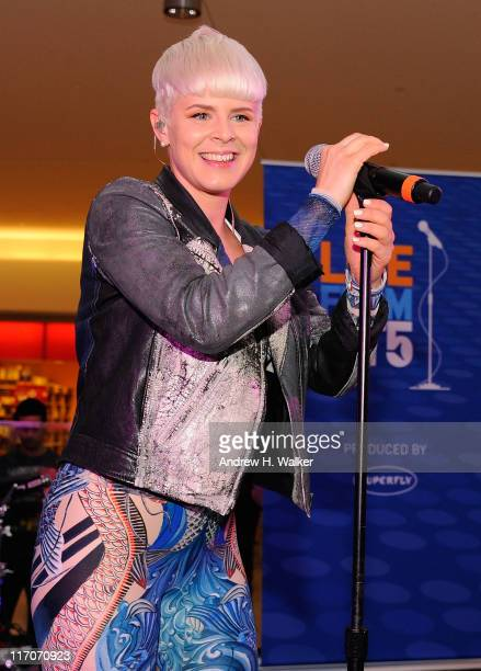 Robyn performs during JetBlue's Live From T5 concert series at Terminal 5 at JFK Airport on June 20, 2011 in New York City.