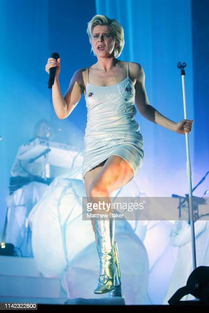 Robyn performs on stage at Alexandra Palace on April 12 2019 in London England