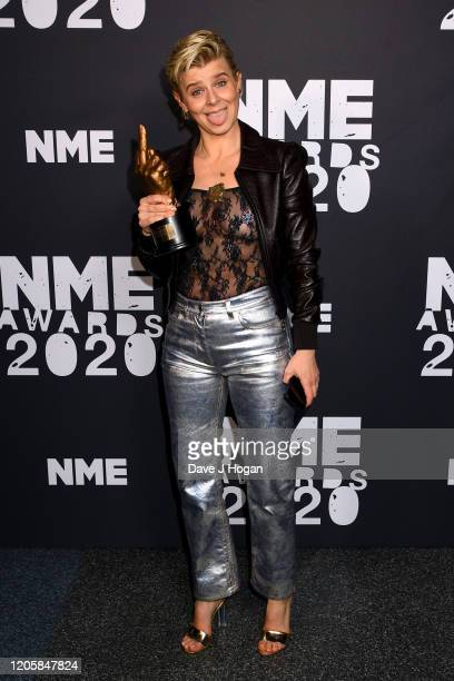 Robyn poses with the Songwriter Of The Decade Award in the winner room at the NME Awards 2020 at O2 Academy Brixton on February 12 2020 in London...