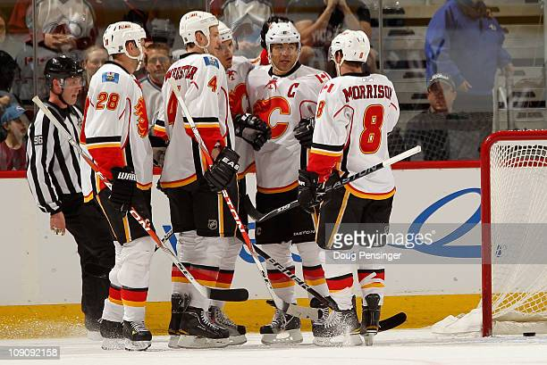 Robyn Regehr Jay Bouwmeester Rene Bourque Jerome Iginla and Brendan Morrison of the Calgary Flames celebrate Iginla's first period goal to give the...