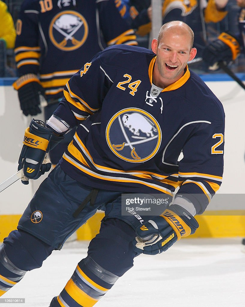 d50bdce4a Robyn Regehr  24 of the Buffalo Sabres skates during warm-up prior to play