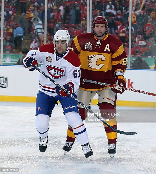 a278ff390 Robyn Regehr of the Calgary Flames skates against Max Pacioretty of the Montreal  Canadiens during the
