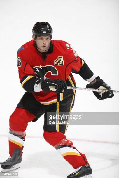 Robyn Regehr of the Calgary Flames skates against the Anaheim Ducks on February 7 2009 at Pengrowth Saddledome in Calgary Alberta Canada