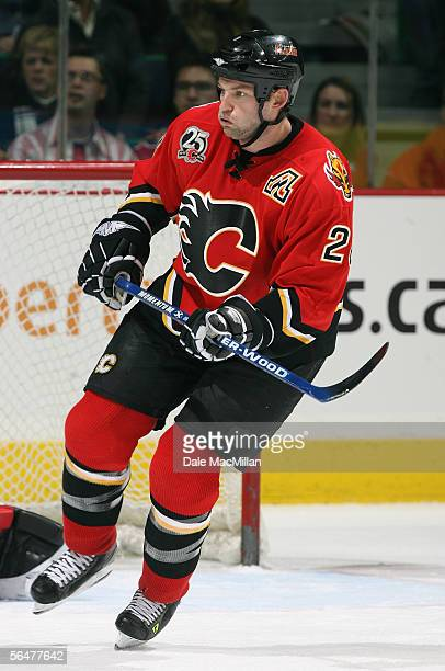 Robyn Regehr of the Calgary Flames skates against the Boston Bruins during their NHL game at Pengrowth Saddledome on December 17 2005 in Calgary...