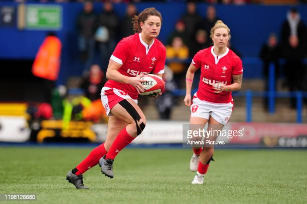 Robyn Wilkins of Wales in action during the Womens six nations championship match between the Wales and Italy at Cardiff Arms Park on February 02,...