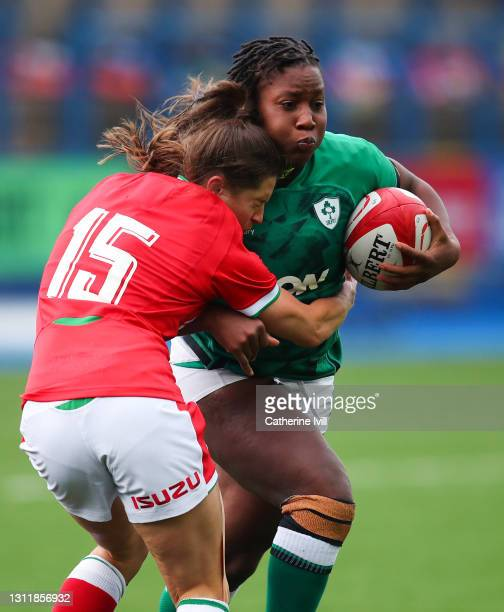 Robyn Wilkins of Wales tackles Linda Djougang of Ireland during the Women's Six Nations match between Wales and Ireland at Cardiff Arms Park on April...