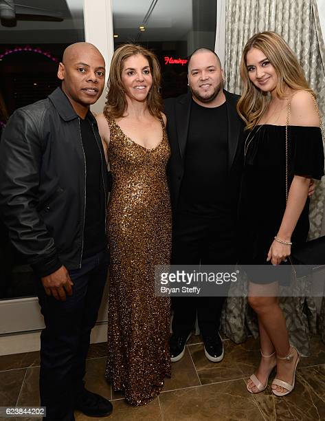 Roc Nation CoFounder Tryan 'Tata' Smith television host Leila Cobo Roc Nation Latino President Johnny Marinees and singer Karen Rodriguez attend the...