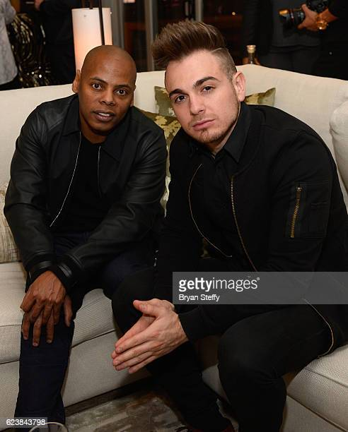 Roc Nation CoFounder Tyran 'Tata' Smith and singer Juan Pablo Castillo of Los 5 attend the Roc Nation Latin Grammy Midnight Brunch at the Nobu Hotel...
