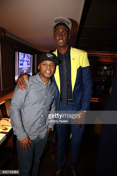 Roc Nation executive Tyran 'Ty Ty' Smith and Brooklyn Nets player Caris LeVert attend the Roc Nation Sports NBA Draft Party at 40 / 40 Club on June...