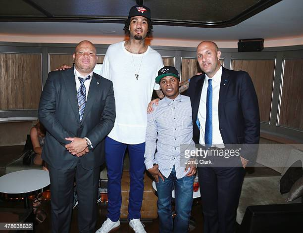 Roc Nation Sports VP Shawn Pecas NBA first round draft pick Willie CauleyStein Sacremento Kings Tyran 'Ty Ty' Smith and Rich Kleiman attend Roc...