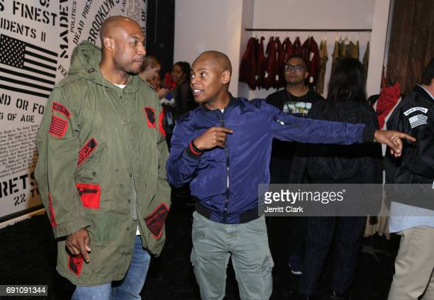 Roc96 cofounder Kareem 'Biggs' Burke and Tyran 'Ty Ty' Smith attend the Madeworn x Roc96 PopUp Event on May 31 2017 in Los Angeles California