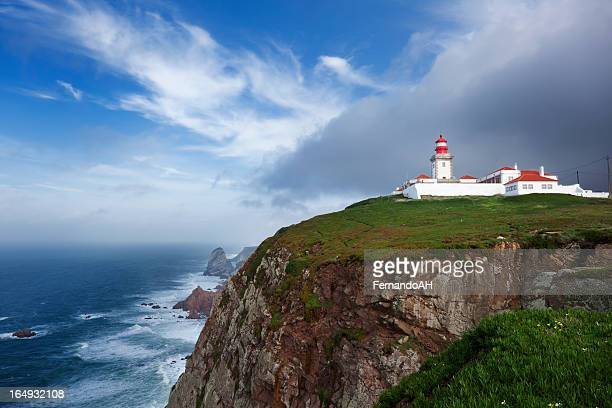 cabo da roca lighthouse - cascais stock photos and pictures