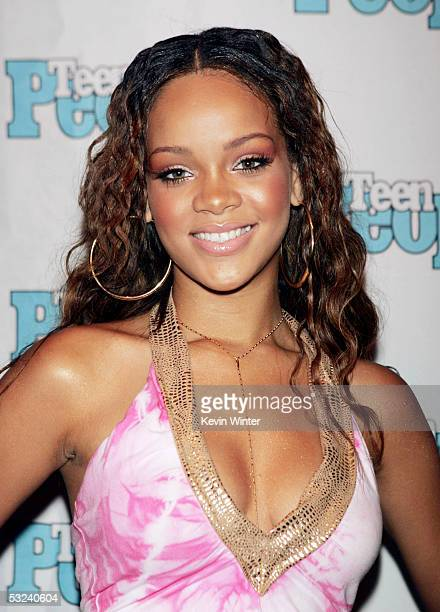 RocAFella recording artist Rihanna is featured at the Teen People Listening Lounge hosted by JayZ at the Key Club on July 14 2005 in West Hollywood...
