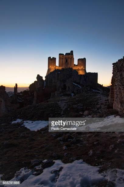 Rocca Calascio castle at sunset in winter, Abruzzo region, Italy.
