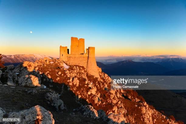 Rocca Calascio fortress at sunset in winter, Abruzzo region, Italy
