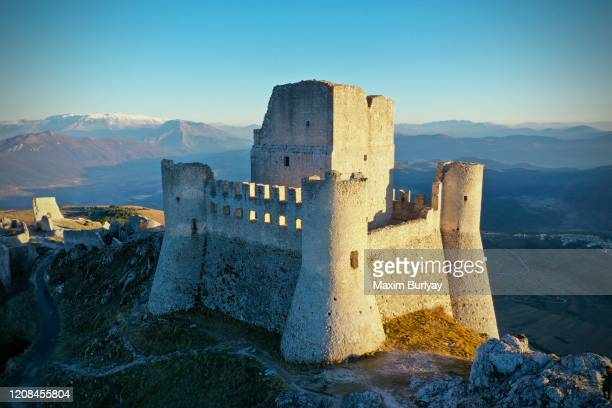 rocca calascio - fortified wall stock pictures, royalty-free photos & images