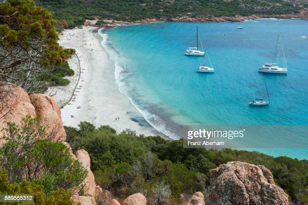 roccapina bay, corsica, france - franz aberham stock photos and pictures
