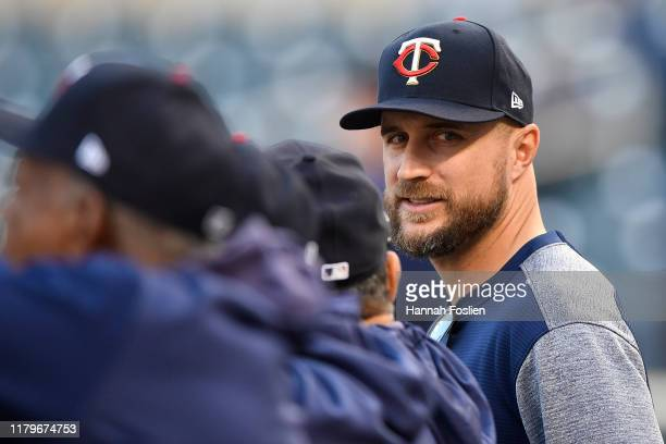 Rocco Baldelli of the Minnesota Twins looks on during batting practice prior to game three of the American League Division Series against the New...