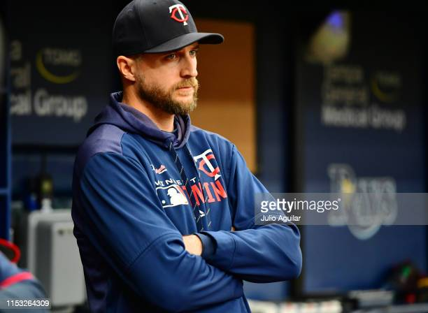 Rocco Baldelli of the Minnesota Twins looks on to gameplay during the second inning against the Tampa Bay Rays at Tropicana Field on June 02 2019 in...