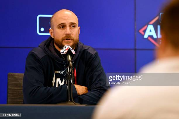 Rocco Baldelli of the Minnesota Twins speaks to the press following their 41 loss to the New York Yankees in game three of the American League...